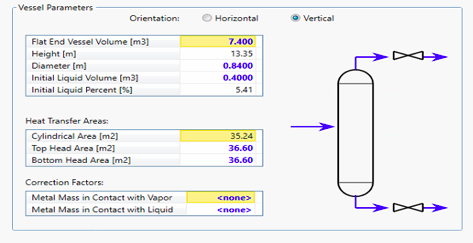 Input to DPU where entire system inventory (pipes and vessels are lumped into a single vessel)